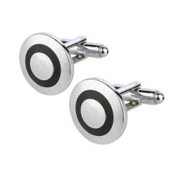 Manschettknappar - Eleganta runda i silver och svart Svart