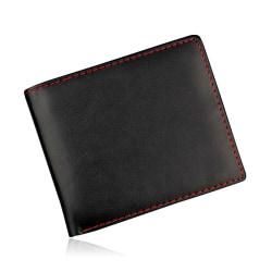 Stilren rymlig plånbok med röda stygn - Svart Röd