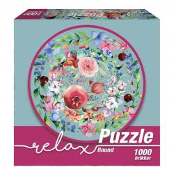 1Conzept Relax Runt Pussel - Blommor i Akvarell 1000 bitar multifärg
