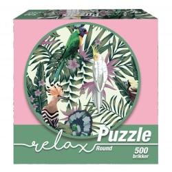 1Conzept Relax Runt Pussel - Fåglar & Blad 500 bitar multifärg
