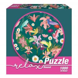 1Conzept Relax Runt Pussel - Fåglar i färg 1000 bitar multifärg