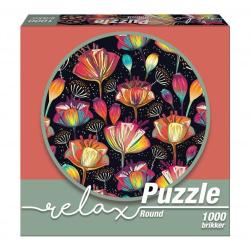 1Conzept Relax Runt Pussel - Färgglada blommor 1000 bitar multifärg