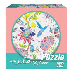 1Conzept Relax Runt Pussel - Kolibri & Blommor 1000 bitar multifärg
