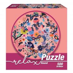 1Conzept Relax Runt Pussel - Fjärilar & Fåglar 500 bitar multifärg