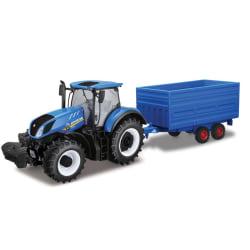 Bburago New Holland Traktor med blått släp Blå