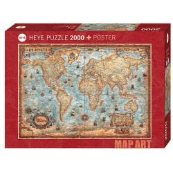 Heye Pussel - Map Art, Karta över Världen 2000 Bitar  multifärg