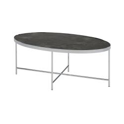 143 Java soffbord oval med krom stativ krom