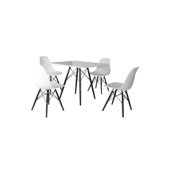 600,598 Bord + 4 stolar formgjutna stolar vit/svart vit svart