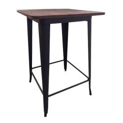 Plåt barbord matt svart med toppskiva i alm trä 70 x 70