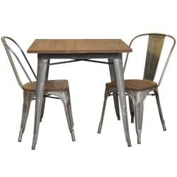 Plåt galvaniserad med toppskiva alm + 2 galvaniserad stolar alm  silver