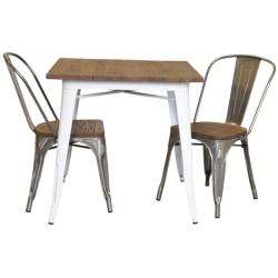 Plåt matt vit med toppskiva i alm + 2 galvade stolar alm sits