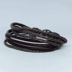 7 stk Handgjorda armband i autentisk läder brun för män  Brun one size
