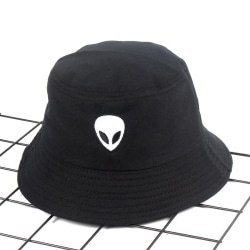 Fiskehatt Hip-Hop svart broderad alien hatt solhatt Svart one size