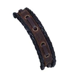 Handgjort armband för män äkta brunt läder flätat svart Brun one size