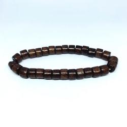 Handgjort armband för män kantiga träpärlor i brunt bohemiskt Brun one size