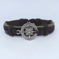 Handgjord armband i äkta läderbrun kompass herrmetall Brun one size