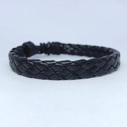 Handgjort flätat armband för män i svart läder  Svart one size