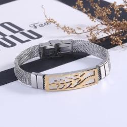 Handgjort Stål armband för män coolt träd Guld one size