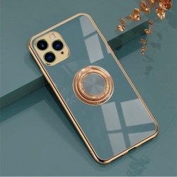 Lyxigt Stilrent skal Phone11 Pro Max med ring ställ-funktion Gul Blue one size