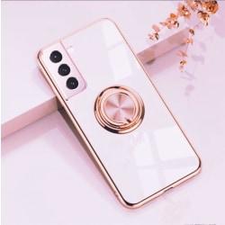 Samsung Galaxy S21 Lyxigt Stilrent skal med ring ställ-funktion  LightPink one size