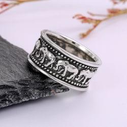 Silverpläterad ring med elefanter för män  Silver one size