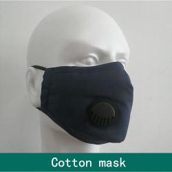Tvättbart munskydd PM2.5 med andningsventil i bomull svart Svart one size