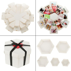 Handgjord Surprise Explosion Box Scrapbook DIY Photo Album A  WHITE