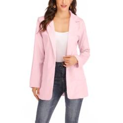 Kvinnors enfärgad blazer -överrock Öppna kavaj med krage Rosa 3XL