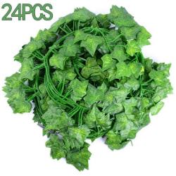 24st vägghängande växter falskt blad hem inomhus utomhus dekor 24PCS