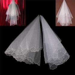 1,5 M vit / beige pärla midjelängd bröllop brudslöja bröllop White 0
