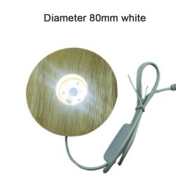3D trälampa Base LED Square Round USB Night Light Bases white 80mm