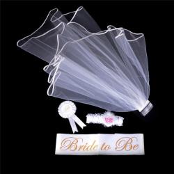 4st Bride to be White Garter Sash Veil Badge Rosette Bachelore 0 0