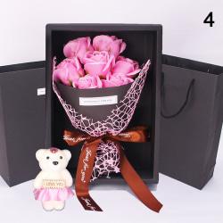 7 Rose Soap Flower Presentask Liten bukett för bröllop Valentin Pink 7pcs
