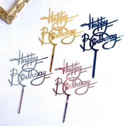 Akryl Cake Topper Grattis på födelsedagen Cake Toppers för barn Birthd Silver