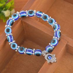 Charm Evil Eye Pärlskydd Lycka till Armband Smycken Hamsa Blue One Size