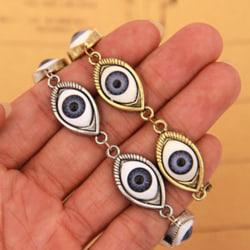 Mode Lucky Gold / Silver Evil Eye Chain Armband Manschett Armband W