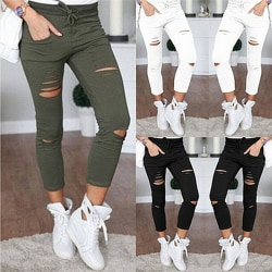 Mode Kvinnor Rippade hål Capri-byxor Pencil High Waist Pants Black XXL