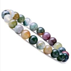 Natursten 8mm Agatpärlor Armband Sträck elastiskt armband Multicolor