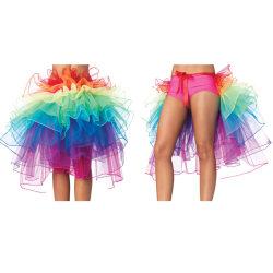Rainbow Neon Tutu Kjol Rave Party Dance Half Bustle Burlesque