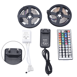 RGB SMD 3528 10M 600LED Strip Light med 12V adapterkontakt 44Key EU