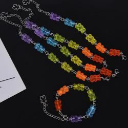 Kvinnor rostfritt stål armband handgjorda Cartoon Candy Bear Armband Multicolor
