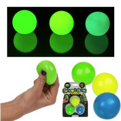 3-pack Stress Relax Squeeze Boll Lyser I Mörkret Fidget Toy Kläm multifärg