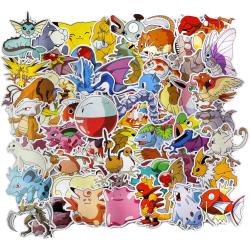 50st Pokemon Gadget Stickers Klistermärken Vinyl Återanvändbara multifärg