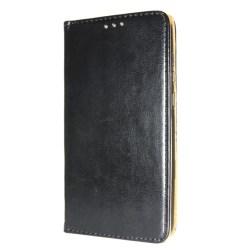 Äkta Läder Book Slim Samsung Galaxy A8+ 2018 Plånboksfodral Svar Svart