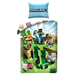 Minecraft Battle Påslakanset Bäddset Sängkläder 140x200+70x90cm Grön