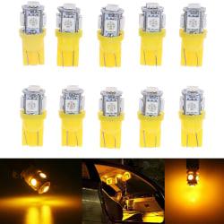 10st Gul T10 Wedge 5-SMD 5050 5W5 LED-skyltlampor C One Size