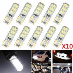 10x Xenon White T10 W5W 12-SMD 2835 LED Canbus felfri silikon White