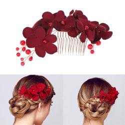 1PC Brudbröllop brudtärna röd blomma hår kam klipp hårnål One Size