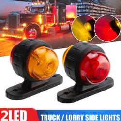 2x Red Amber Corner Side Marker LED Light Outline Lamp Truck Tr Onesize