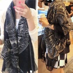Mode Vintage kvinnor lång mjuk bomull Voile Print halsdukar Shaw Black 165X85cm